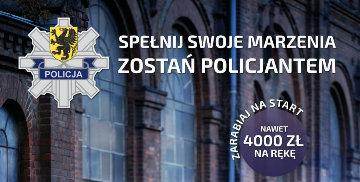 Plakat z danymi kontaktowymi do uzyskania informacji na temat naboru do Policji