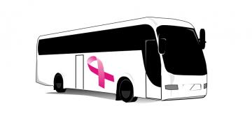Biały autobus z różową wstążką