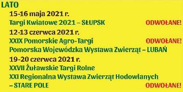 XXVII Żuławskie Targi Rolne oraz XXI Regionalna Wystawa Zwierząt Hodowlanych w Starym Polu odwołane.