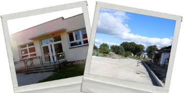 Zdjęcie budynku świetlicy w Janówce oraz budowy drogi w Kaczynosie
